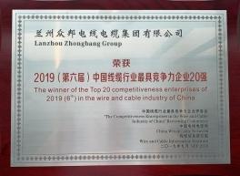 """""""2019(第六届)中国线缆行业最具竞争力企业20强"""""""